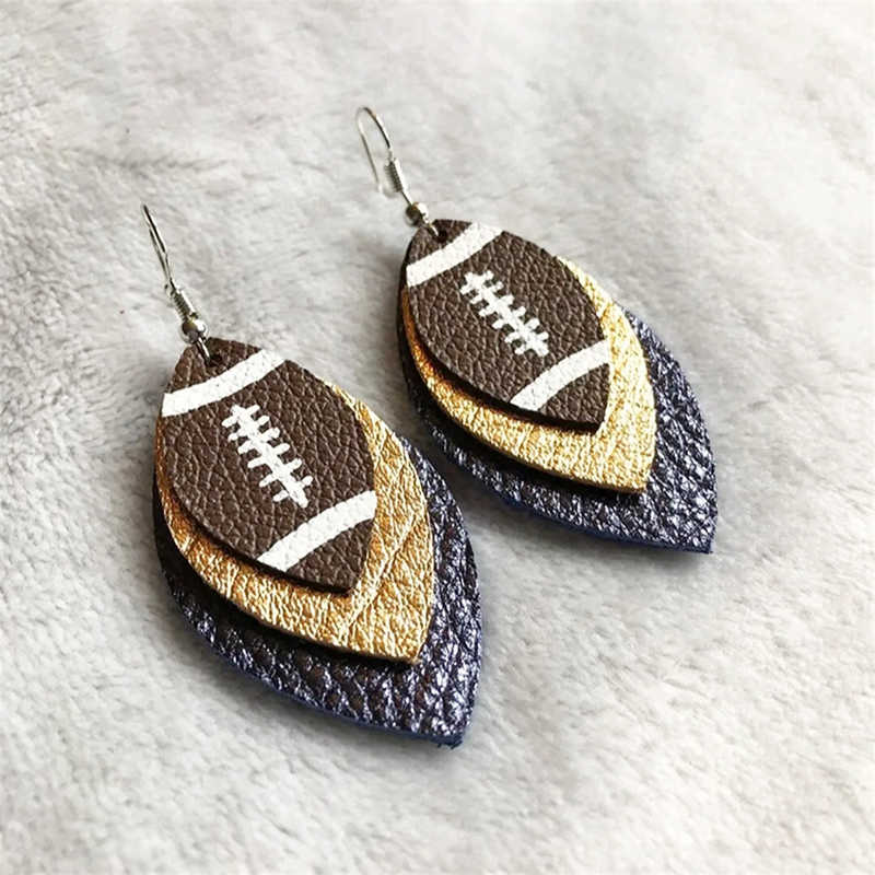 2019 Trend 3D Double Layer  Faux  Faux leather Football Earrings Color Hook Style Can Accept Customization