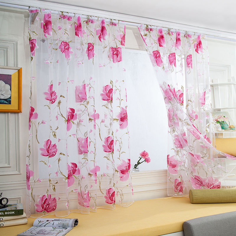 Tulle Curtains Floral Design Window Treatments White Fabrics Ready Made Jacquard Kitchen ...