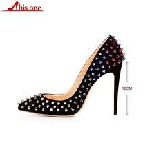 цена на 2019 Brand Sexy Women Metal Rivets PU Leather Pumps Stilettos Pointed Toe Ladies Spikes Slip on Bridal Dress High Heels Shoes