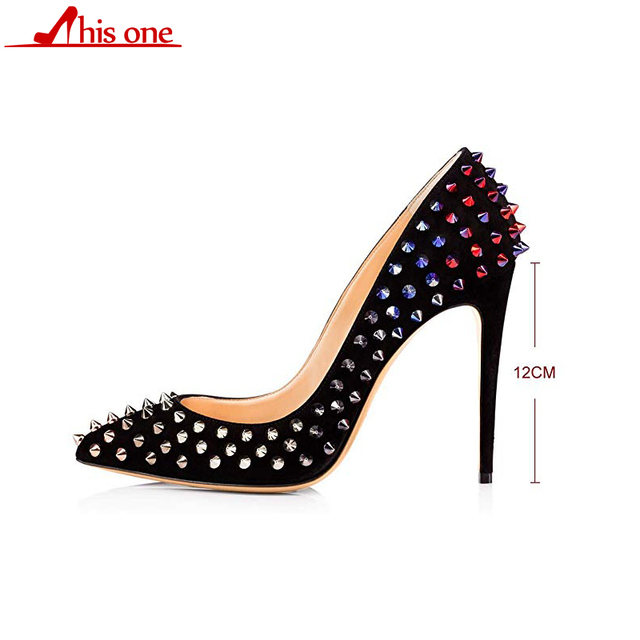 2019 Brand Sexy Women Metal Rivets PU Leather Pumps Stilettos Pointed Toe Ladies Spikes Slip on Bridal Dress High Heels Shoes