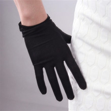 Jedwabne rękawiczki 23cm naturalny jedwabnik jedwabny elastyczny krem do opalania piękno krótki styl kobiety czarne rękawiczki ślubne z ekranem dotykowym WZS02