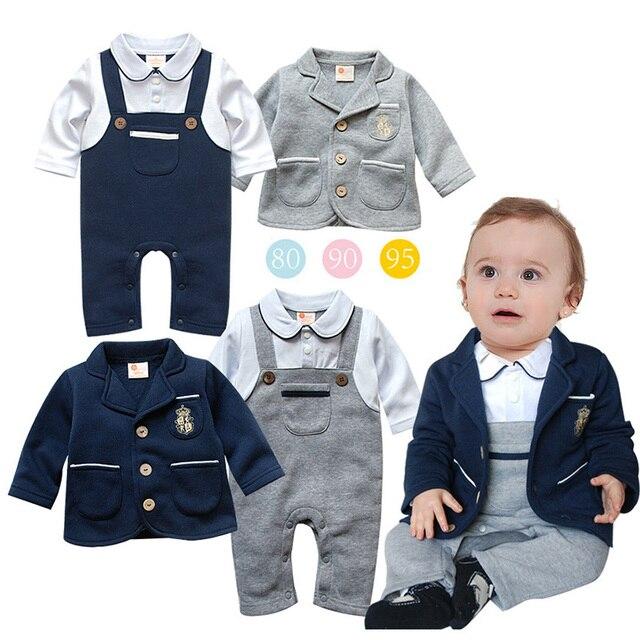 d84119b82ba0a Automne hiver combinaison nouveau-né bébé garçon barboteuse + manteau  Gentleman ensembles costume de smoking