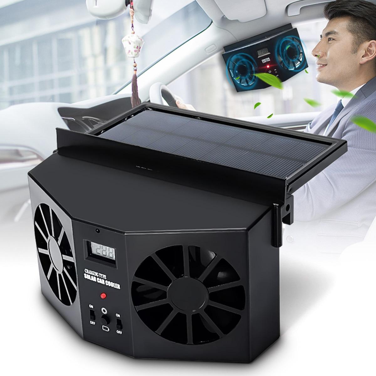 Car Solar Power Fan Car Exhaust Fan Double Air Outlet Car Window Cooling Cooler Rechargeable Ventilation Black