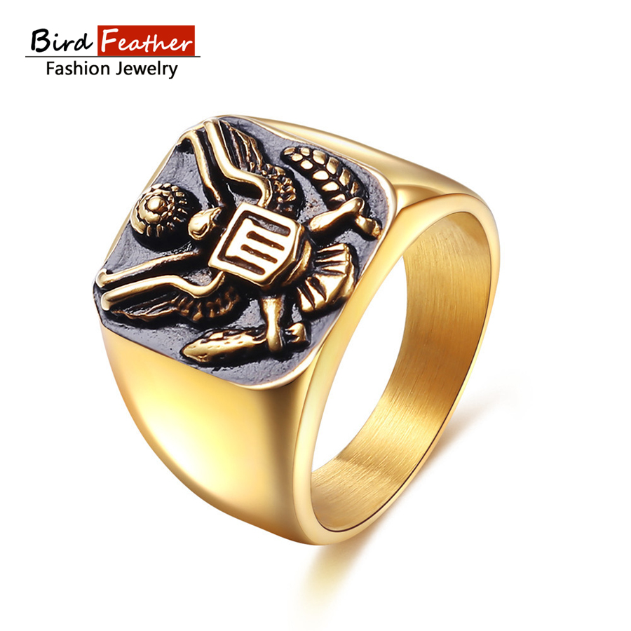 aliexpress : buy bird feather stainless steel men rings usa