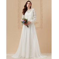 LAN TING BRIDE A Line Princess Jewel Neck Sweep / Brush Train Cotton Wedding Dress Lace with Appliques Sashes / Ribbons
