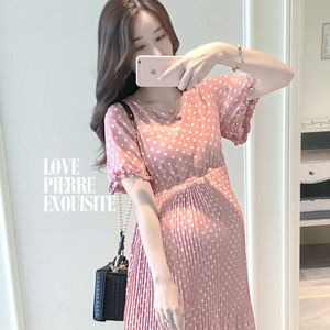 Image 5 - Chiffon Dresses Maternity Clothing For Pregnant Women Short Sleeve V neck Dot Vestidos Pregnancy Dress Maternity Summer Dresses