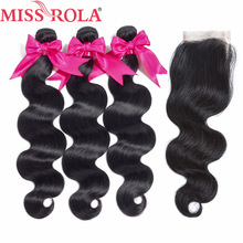 Fröken Rola Hair Peruvian Body Wave With Closure 100% Human Hair 3 Bundles With Closed Natural Color Non-Remy Hair Extensions