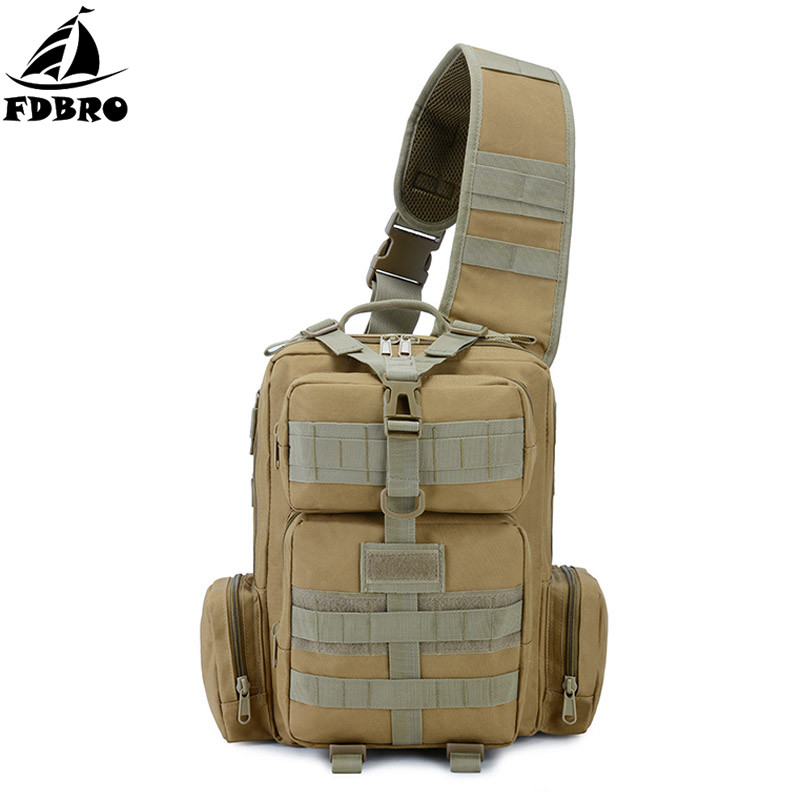 FDBRO Neutral Outdoor Bags Camouflage Tactical Chest One Shoulder Bag High Capacity For Mountain climbing Travel