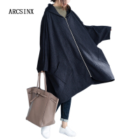 ARCSINX Autumn Jacket Women Plus Size 10XL 9XL 8XL 7XL 6XL 5XL Black Hooded Oversized Female Coat Batwing Sleeve Jackets Women