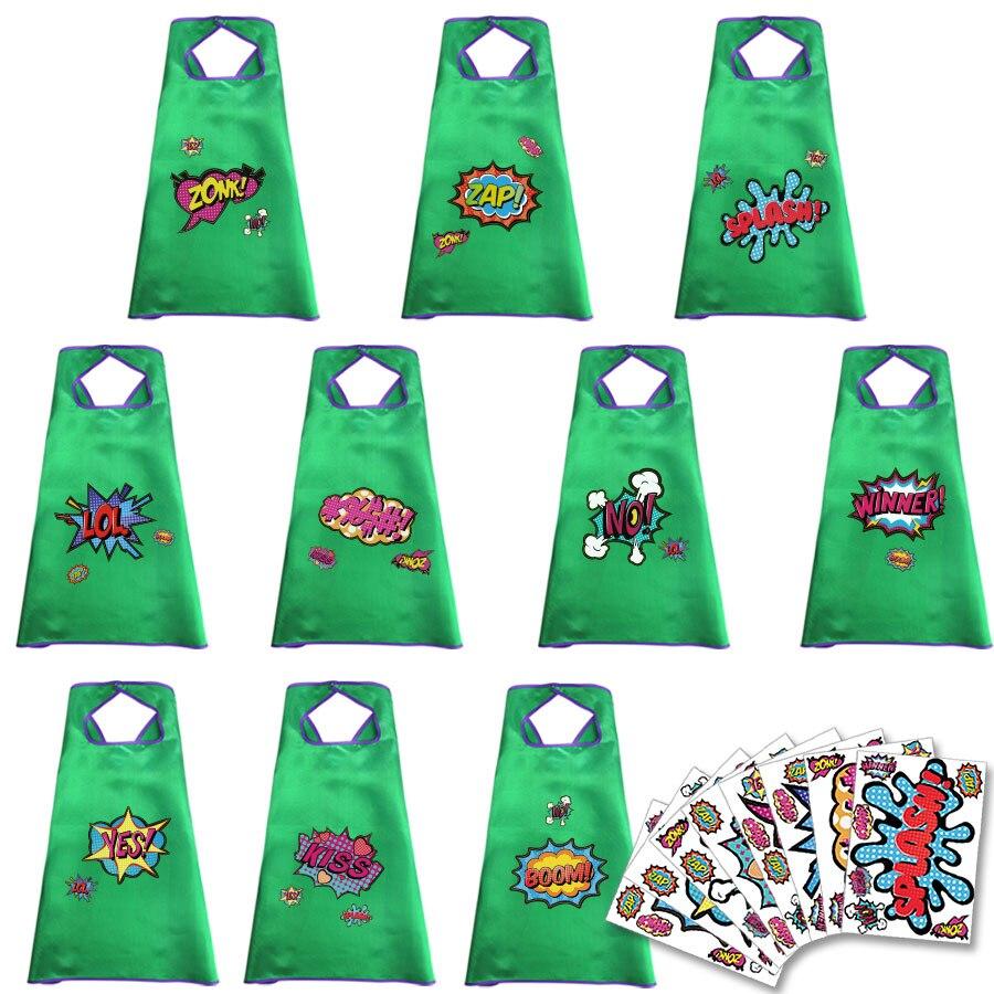 10 Pcs Speciale 70*70 Cm Vlakte Groen Capes En Sticker Bulk-meisjes Speelgoed Verjaardag Baby Kostuum Party Levert Kleindochter Geschenken