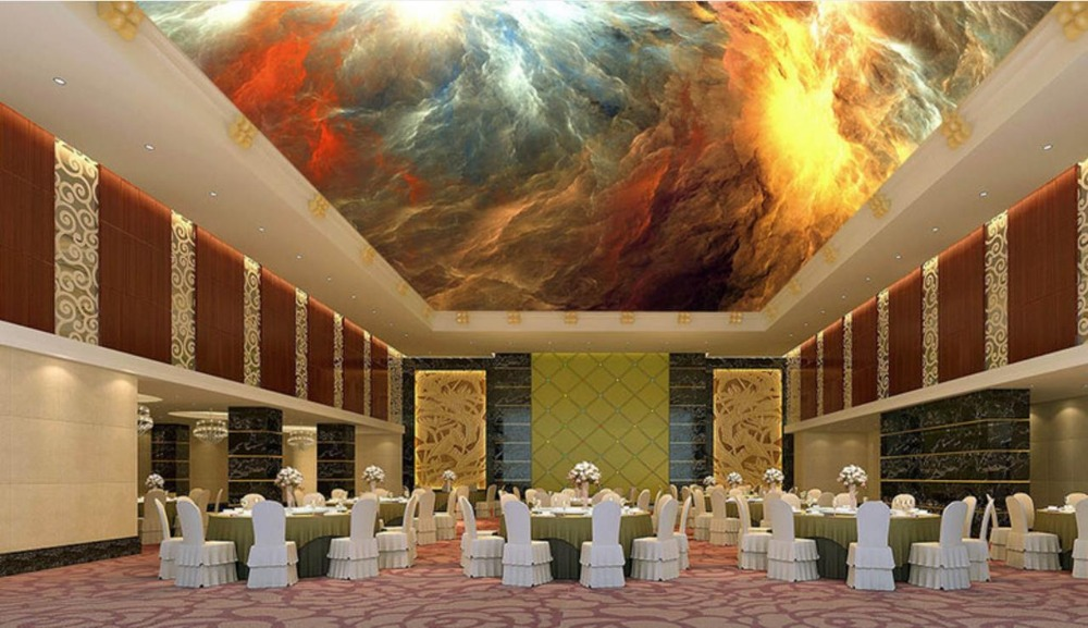 3d Ceiling Wall papers Home Decor Cosmic sun Nonwovens Wallpaper For Bathrooms 3d Ceiling Wallpaper