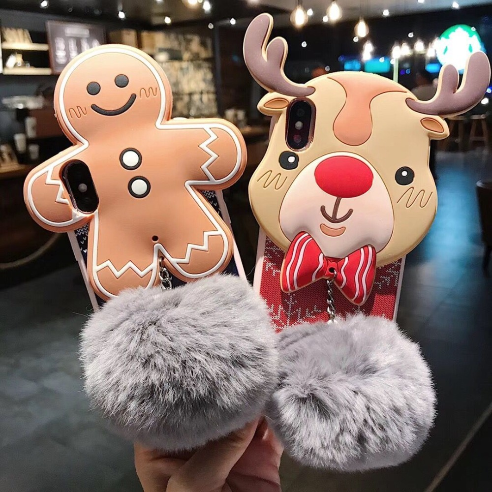Hazy beauty For iPhone 6 6S 7 8 Plus Case Christmas Deer Silicone Leather Soft Phone Case For iPhone X XS XR XS MAX Back Cover