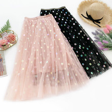 AcFirst Spring Pink Women Skirt Casual High Waist A-Line Mid-Calf Long Clothing Ruffles Colours Dot Sequins Skirts