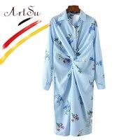 ArtSu Fashion Floral Kimono Basic Women Striped Long Shirts 2017 Europe Turn Down Collar Long Blouse