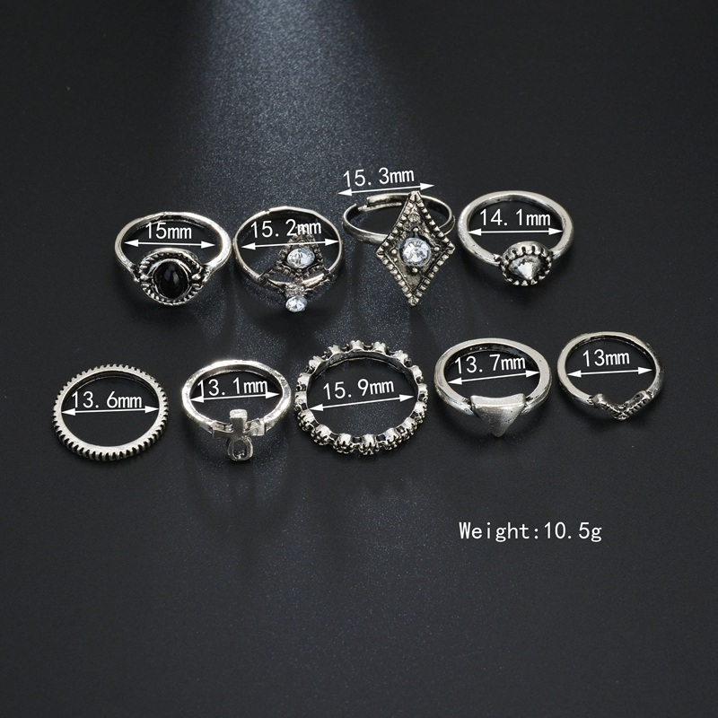 Terreau Kathy Finger Ring Set Antique Bohemian Jewelry Geometric Style Rhinestone Shape 9 Ring Sets For Women Beach Jewelry