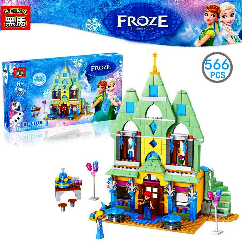 566 pièces maison de poupée jouets congelés pour enfants assembler des blocs de construction en plastique princesse château jouets éducatifs pour enfants