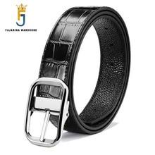FAJARINA Design Quality Crocodile Striped Cowskin Leather Pin Buckle Belts for Men Men's All-match Belt Jeans 3.3cm Wide LUFJ637