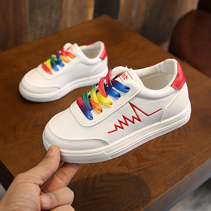 2019 Spring Kids Rainbow Shoelace Sports Shoes Girls Boys Fashion Sneakers  Children Breathable Non-Slip Casual Shoes Size 26-36