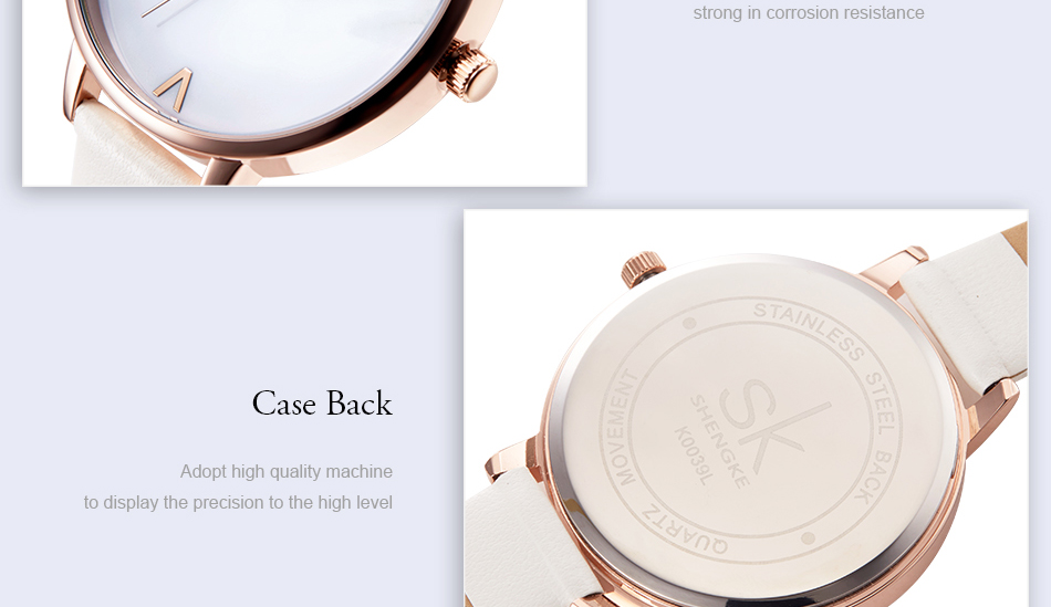 Shengke Top Brand Fashion Ladies Watches Leather Female Quartz Watch Women Thin Casual Strap Watch Reloj Mujer Marble Dial SK 35