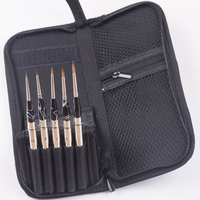 High quality genuine Kolinsky hair wooden handle 5PC/Set canvas case art supplies artist paint travel nail brush for manicure