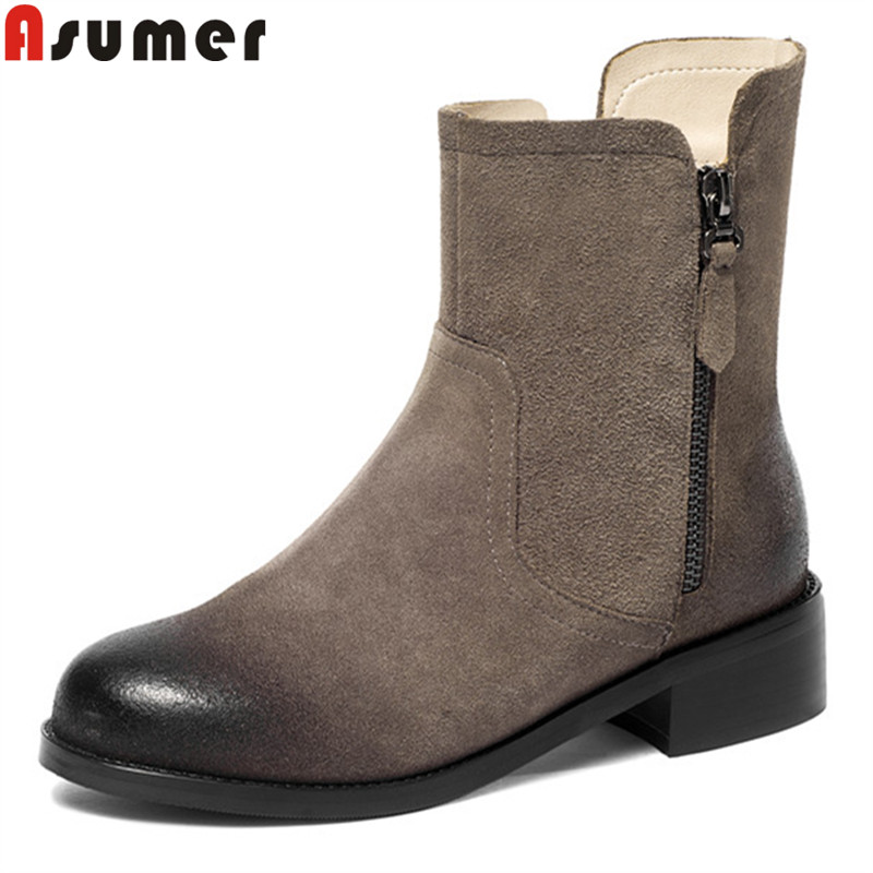 ASUMER big size 34-43 fashion autumn winter shoes woman round toe low heels ankle boots women suede leather ladies boots 100w original ijoy saber 20700 vw kit with 1x20700 battery