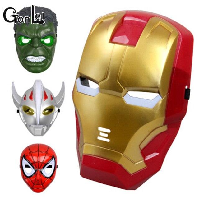 GonLeI LED Superhero Halloween Máscara Crianças Máscara Dos Desenhos Animados do homem-Aranha Brinquedos Brilho Com Lâmpada Homem de ferro Hulk Spiderman Altman máscara de Brinquedo