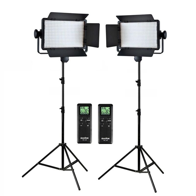 bilder für Freies DHL Godox 2x500 Led-lampe-panel 3300-5600 Karat Bi-farbe Video Licht Beleuchtung Kit LED500C LED500W + 2,8 mt Stand + Adapter