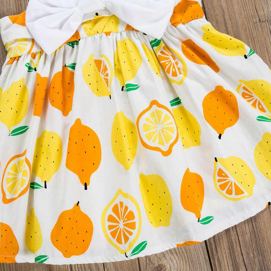 Платья принцессы месяцев лук фруктов Ребенок, девочка платье печати чулок летнее платье для девочки хлопок принцесса танец # G8