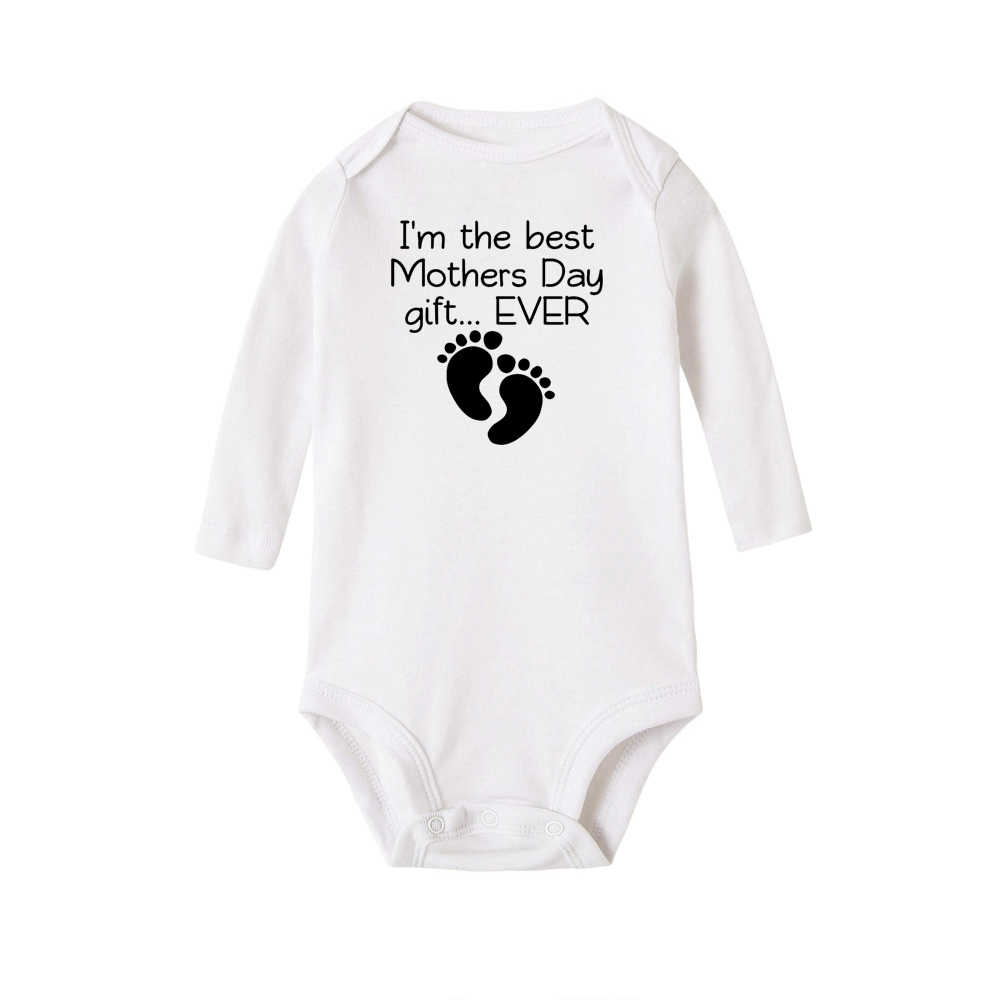 Ik Ben De Beste Moeders Dag Gift Ooit Print Nieuwe Stijl Lange Mouwen Meisjes Baby Romper Katoen Pasgeboren Pak baby Pyjama Jongens