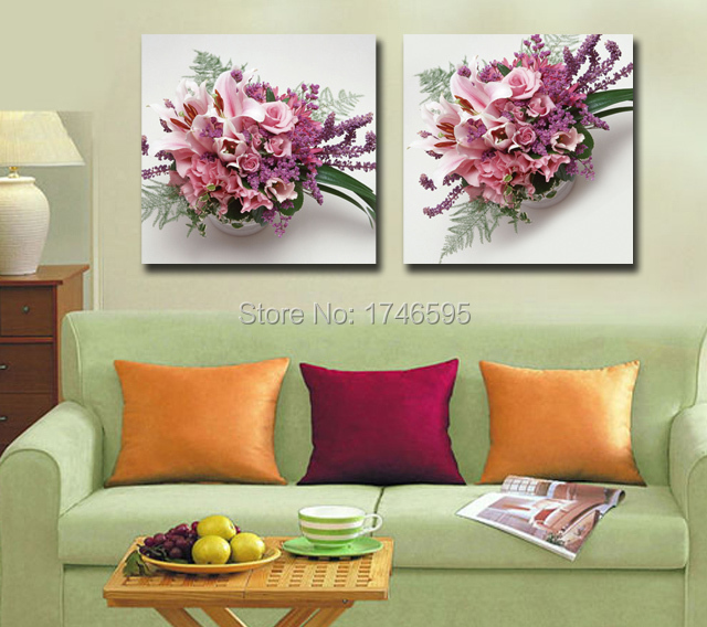 Big size 2pc modern home decor Wall Art picture pink flowers ...