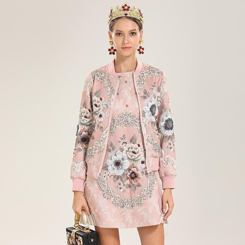 Outwear neck Rose Complet Qualité 2019 O Manches Femelle De Assez Femmes Perles Courtes D'hiver Luxe Vestes Haute Floral vHwAvTUq