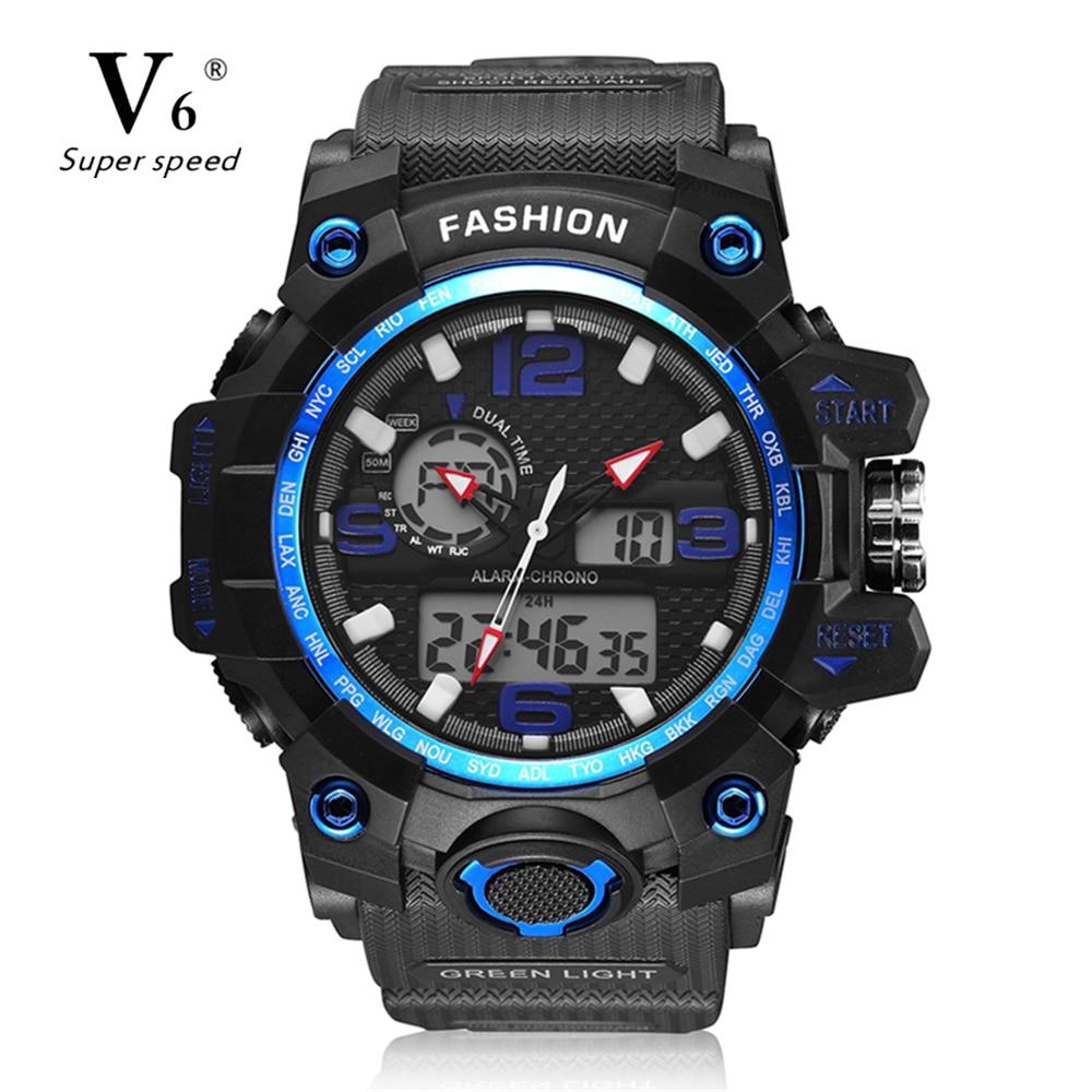 V6 каучуковый ремешок Для мужчин; светодиодный цифровые часы Для мужчин Спортивные часы модные Повседневное Relogio masculino часы Открытый Военная...