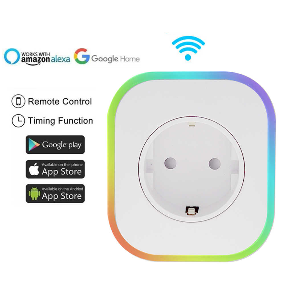 WIFI Smart Socket EU Plug 220V 16A Remote Control Smart Timing Switch Work For Amazon Alexa/Google Assistant