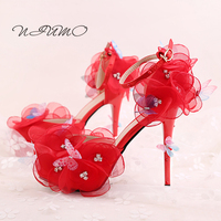 Red Flower Butterfly Bride Shoes Super High With Fine With Wedding Photographs Dress Shoes Toast Shoes