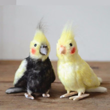 Lovely Bird Doll Simulated Cockatoo Plush Toy Black Cockatiel Yellow Parrots Stuffed Animal Creative Gifts for Kids