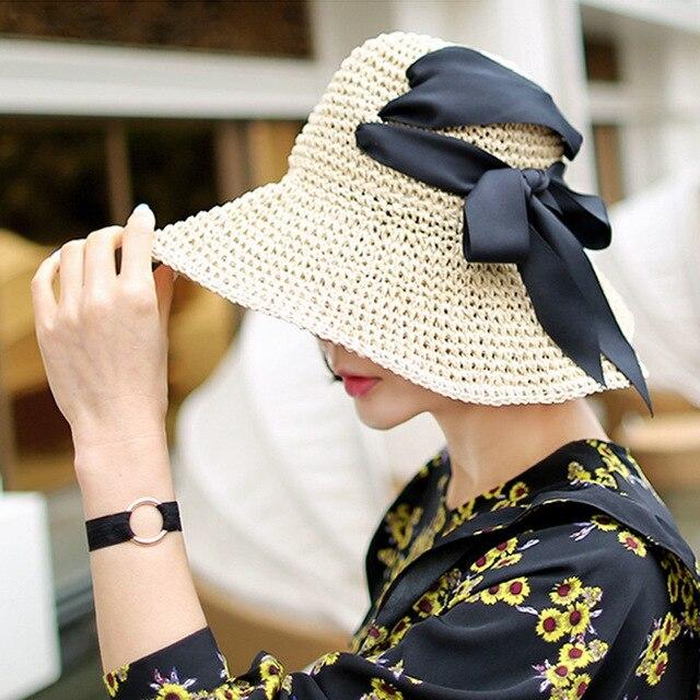 51c3299c2ec Tide Pure Handmade Crocheted Summer Sun Hats For Women New Fashion  Sombreros Wide Brim Beach Side Cap Floppy Female Girl Gift