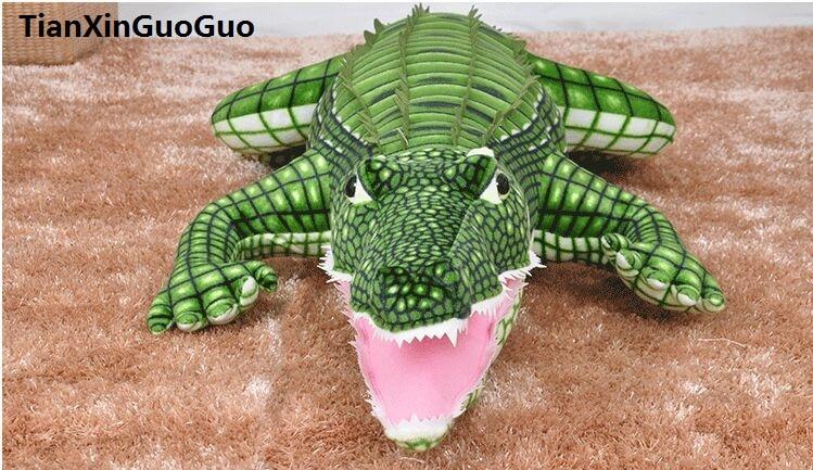 Environ 100 cm dessin animé crocodile en peluche jouet doux poupée jeter oreiller jouet cadeau d'anniversaire s0111