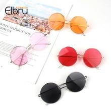 Elbru Round Sunglasses Kids Retro Frame Glasses Children Sun