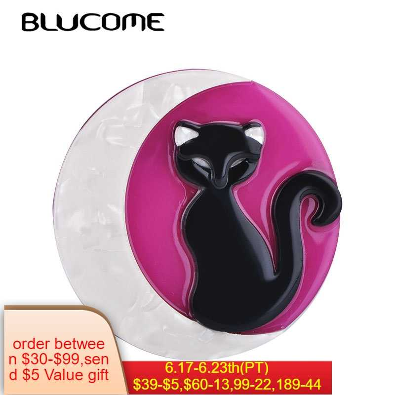 8fac124ec Blucome Fashion Round Animal Cat Moon Pattern Brooches Acrylic Jewelry  Badge Women Kids Girl Hat Clothing