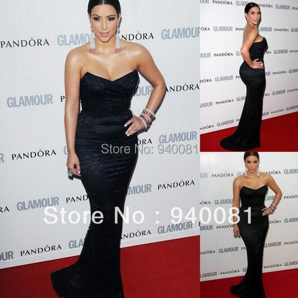 Court Train Mermaid kim kardashian dress Black Sweetheart Lace Party ...