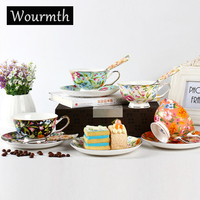 Wourmth Europese Britse Stijl Wit Stippen Kleine Konijn Keramische Porselein Koffiekopje Schotel Set Zwarte Thee Cup Melk met