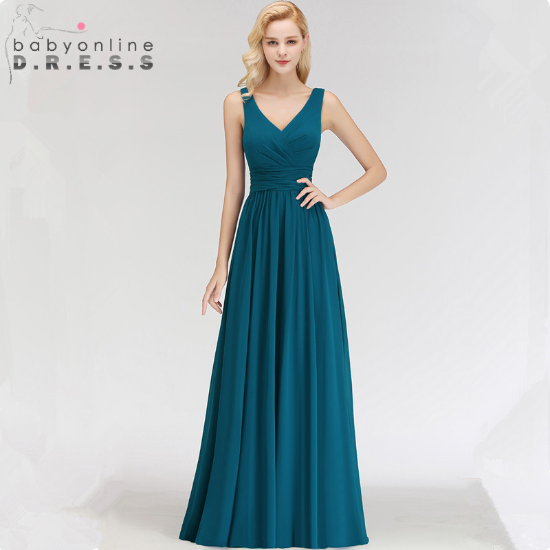 Sexy Backless V Neck Ink Blue Vintage Evening Dresses  Charming Sleeveless Long Chiffion A Line Formal Dress Robe Soiree
