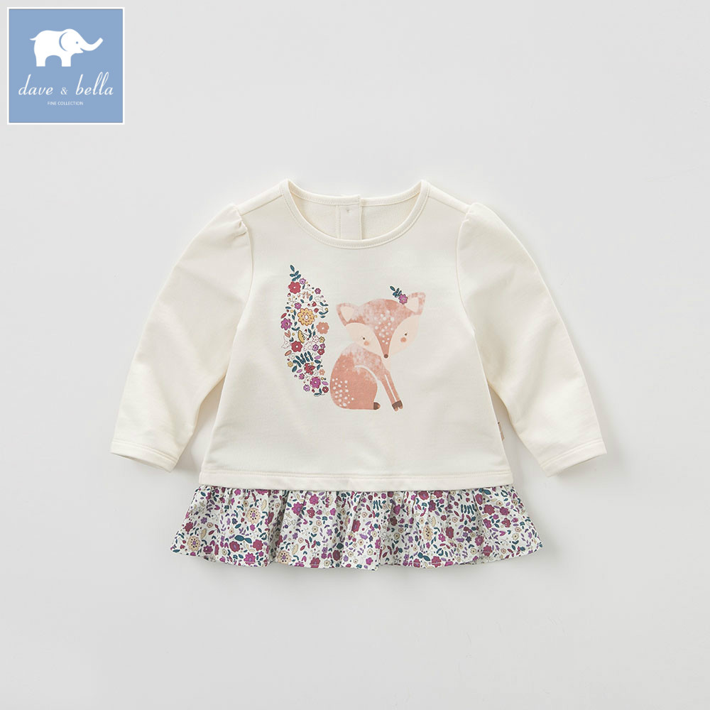 DB5806 dave bella spring autumn cotton baby girl t shirt baby T-shirt infant clothes toddle tops children hoodie with ruffle