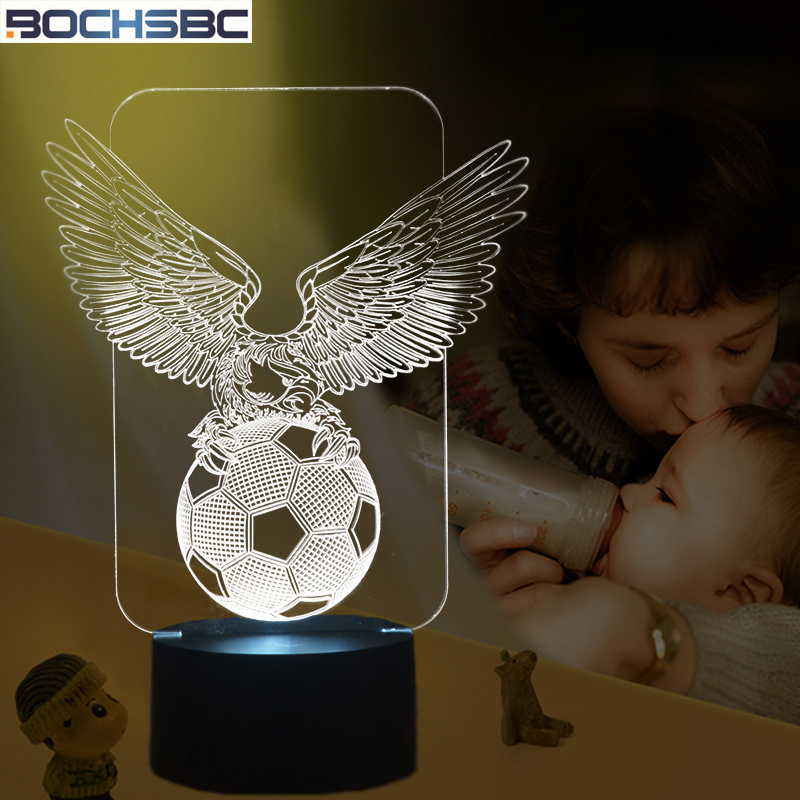 BOCHSBC 3D Football Night Lights Soccer Eagle Acrylic Panel Visual Light Colorful Led Stereo Desk Lamps for Bedroom Decorative