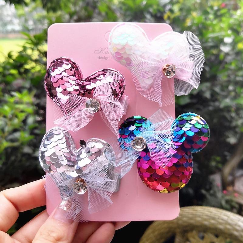 4pcs/set Girls hair clips 2.17 Sequins love bear kids gem barrettes children accessories for girls