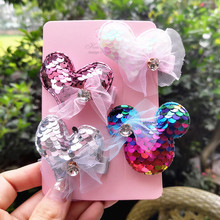 4pcs/set Girls hair clips 2.17 Sequins love bear kids gem barrettes children accessories for girls