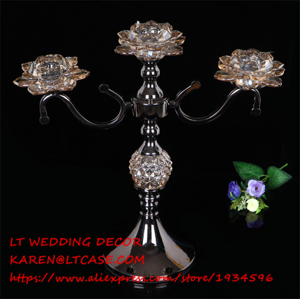 3 arms black wedding candle holder/metal wedding centerpiece/glass crystal wedding candelabra