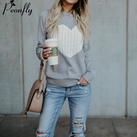 PEONFLY Women O neck Knitted Sweaters Heart Cute Long Sleeve Pullover Knitting Sweater Women Casual Patchwork Pullovers Autumn