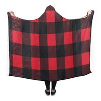 Hooded Blanket Red Buffalo Check Lumberjack Pilling Polar Fleece Hooded Throw Wrap