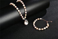 Koraba 14k Rose Gold Natural Baroque Pearl Necklace Bracelet Jewelry Set for Women Handmde Gift